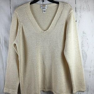 Talbots Woman Ivory Cable Knit V-Neck Pullover 1X